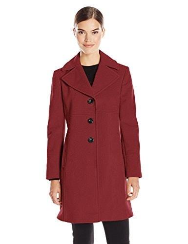 Larry Levine Womens Single Breasted Notch Collar Wool Coat, Firebrick, 12