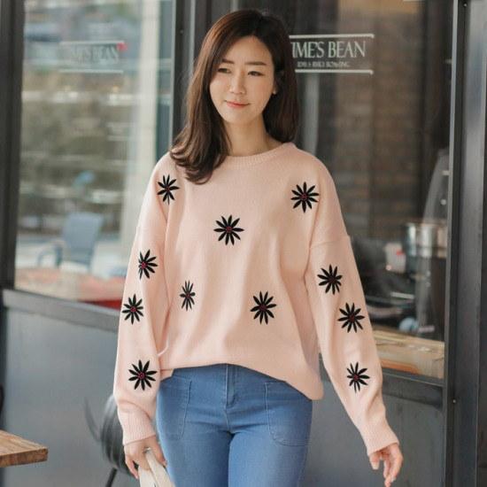 マンゴーの心】フラワーパッチニットEKN004 ニット/セーター/ニット/韓国ファッション