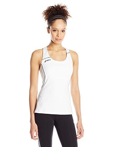 ASICS Womens Alley Tank Top, White/Black, Small