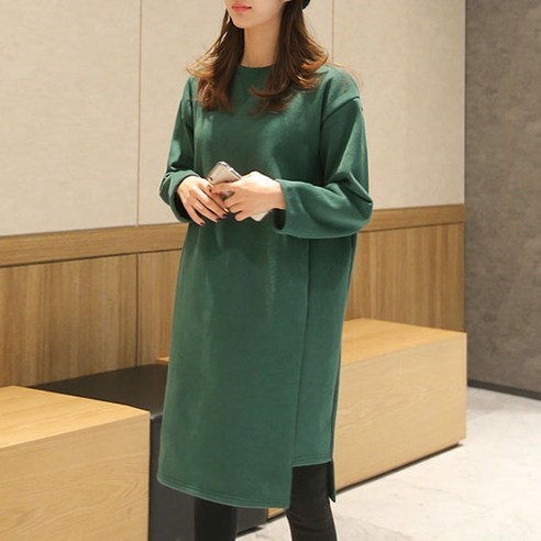 [ClicknFunny] Ruffer brushed knit dress OP4356 Midi Dress (knee length) Korean fashion style