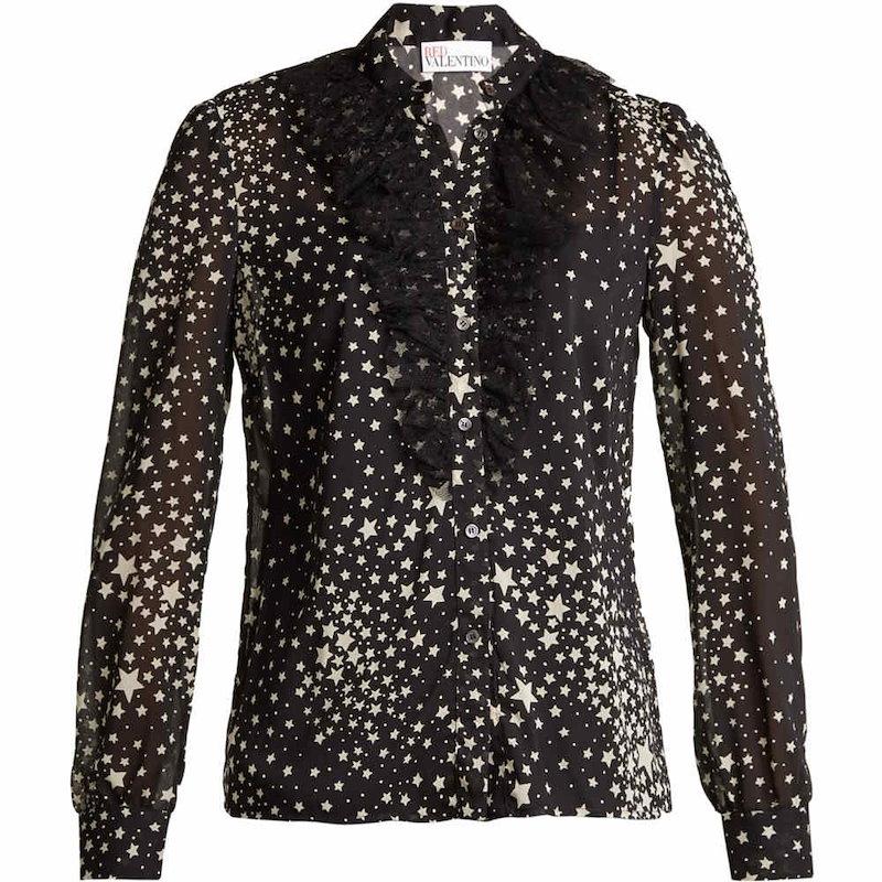 レッドヴァレンティノ レディース トップス ブラウス・シャツ【Ruffled-tulle star-print stretch-silk blouse】Black