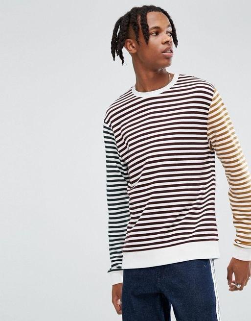 ASOS Sweatshirt with Block Stripe