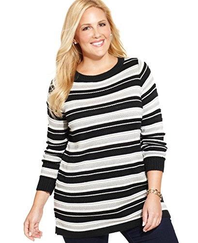 Charter Club Striped Tunic Sweater, Deep Black Combo, 0X