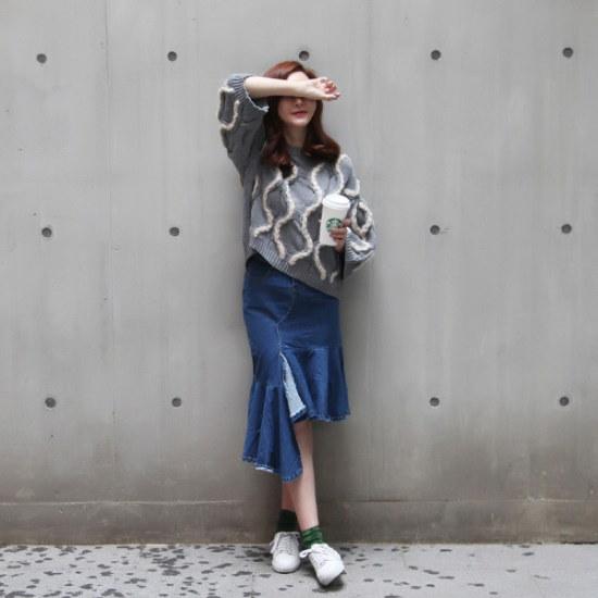 ポンジェイ反クルーラーニットシャツ4color ニット/セーター/ニット/韓国ファッション