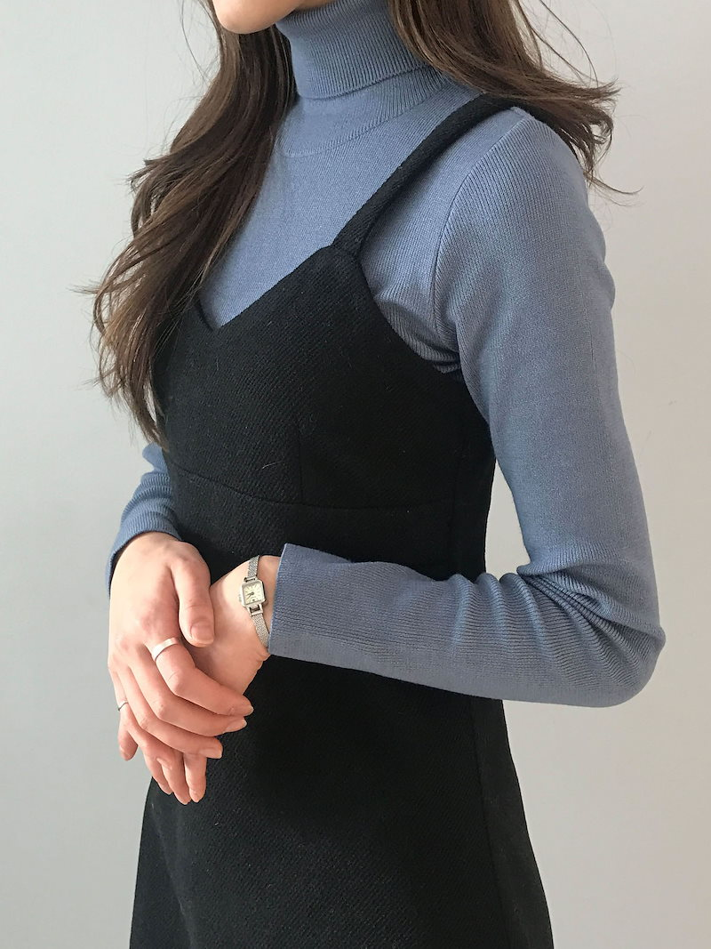 パウダーデイリーオンバルポーラネックニットkorea fashion style