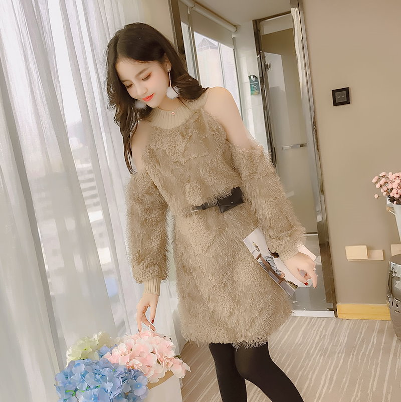 レディースの秋と冬韓国語バージョンは、ベース内の豪華なドレスの長いセクションでストラップレス肩をスプライシングする単語ネット糸緩い