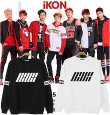 韓流グッズ スウェット IKON パーカー 着用 上着 IKON トレーナー 韓国アイドル ダンス衣装 K-POP ファッション トレーナー セーター スエット 人気のプルオーバー ペアルック 全2色
