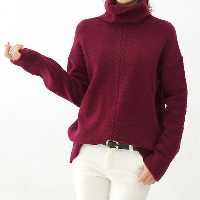 ルーズフィットクァベギ首ポーラニットソフトクァユニークですっきりしたクァベギ編みがベーシックなデザインにポイントになってくれるニット