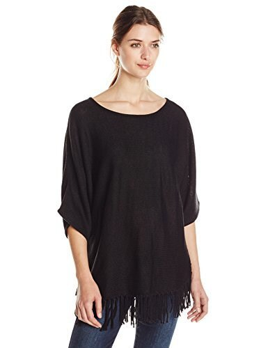 NY Collection Womens Dolman Sleeve Solid Wide Crew Neck Fringed Pullover Sweater, Black, Large