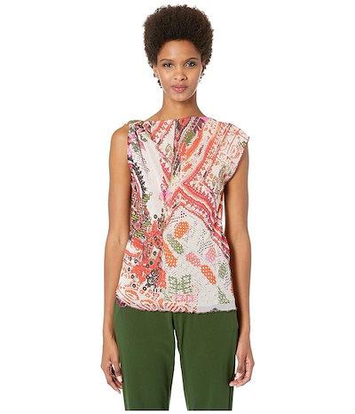 フィッジ レディース シャツ トップス Cross Stitch Tulle Print One Shoulder Blouse