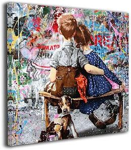 バンクシー ストリート 落書き アートパネル インテリア絵画 装飾画 アート パネル絵 モダン絵画 玄関に飾る モダンアート キャンバス絵画 壁掛け 部屋飾り 木枠付きの完成品