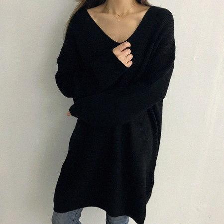 メビジュンVネックロングニットkorean fashion style