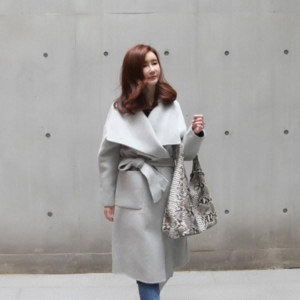 ハンドメードカラロングベーシックコート 女性のコート/ 韓国ファッション/ジャケット/秋冬/レディース/ハーフ/ロング/