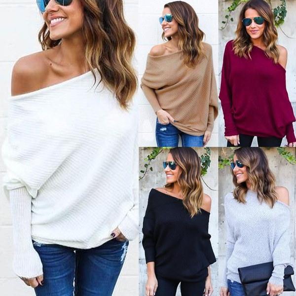 5色女性の春ファッションロングスリーブ秋冬セクシールーズオフショルダーニットセーター