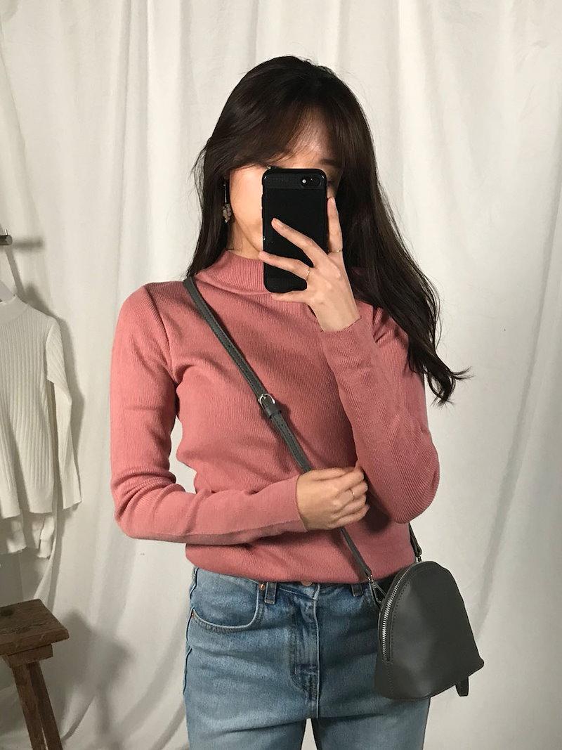 ベラ半ハイネックインナーニットトップkorea fashion style