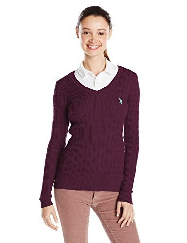 U.S. Polo Assn. Juniors Solid Cable Knit V-Neck Pullover, Potent Purple Combo, X-Large