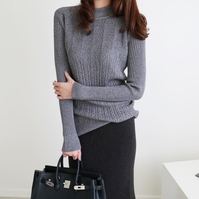 [Dimming] Toffee twine long knit 5 color half polka knit cable knit winter knit Polar knit long knit