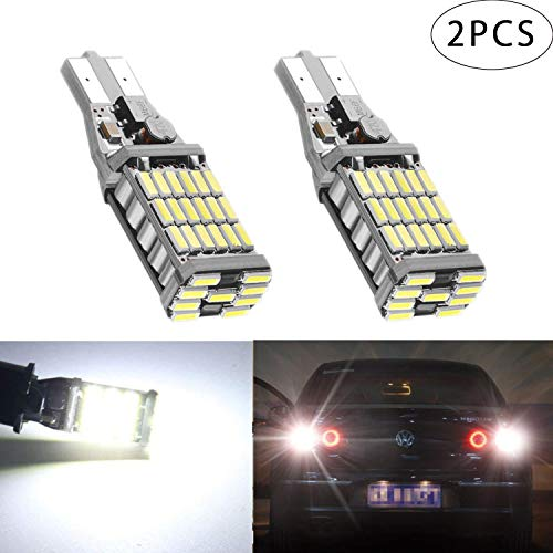 Autart T16/T15 W16W LED バックランプ 爆光 1000LM高輝度 無極性 キャンセラー内蔵 CANBUS 45連4014 SMD LED バックアップ 後退灯 6500K