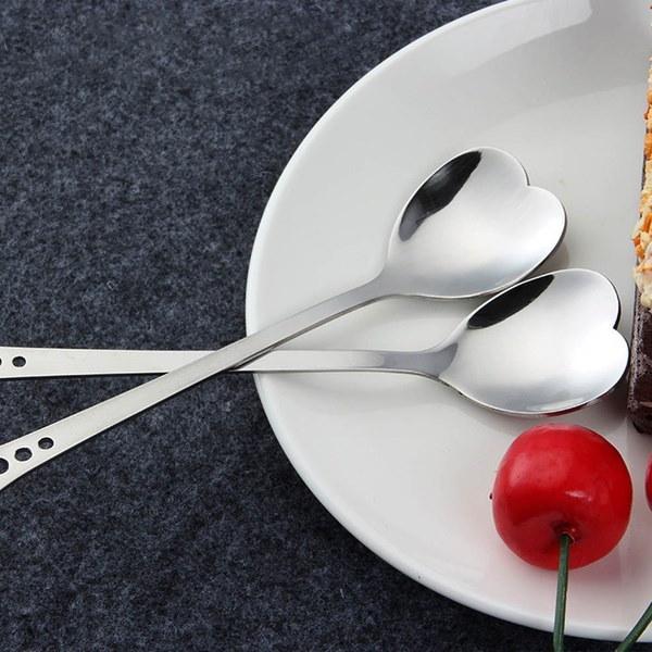 新しいクリエイティブ2個のステンレス製食器ハート型スプーンケーキハート型スプーンラブスプーン水