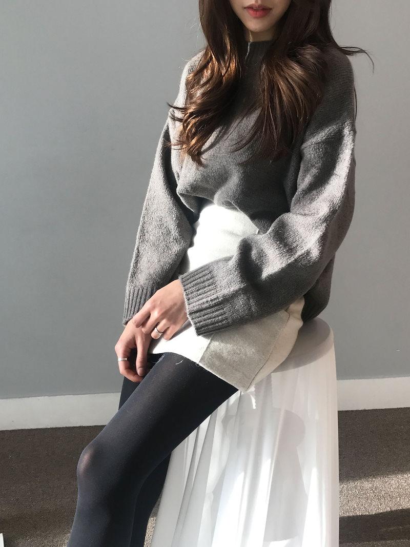 マロンデイリールーズフィットオンバルニットkorea fashion style