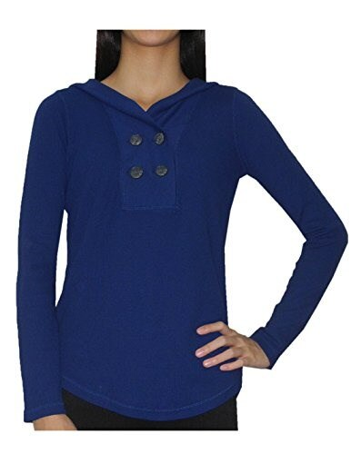 Tommy Hilfiger Womens Pullover Ribbed Hooded Sweater XL Blue