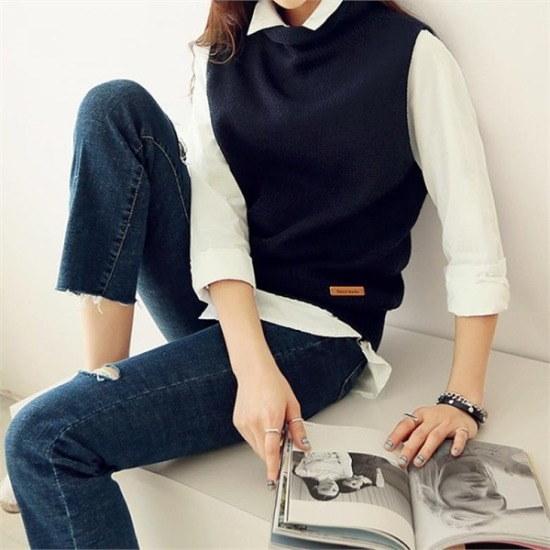 ペッパー行き来するようにペッパーローリングのポーラー・ニットベスト101076 ベセチュウ / ニット・ベスト/ 韓国ファッション