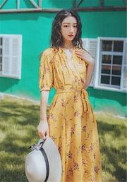 c9455a88b8d35 雑志で绍介されました☆韓国ファッション ヴィンテージ イエロー Vネック フローラル サマー
