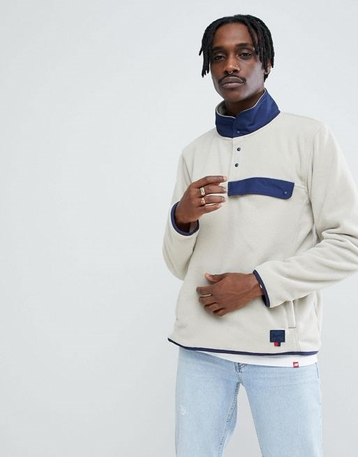Herschel Supply Co Overhead Fleece Sweat Contrast Collar in Beige