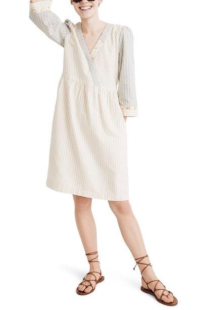 メイドウェル レディース ワンピース トップス Madewell x The New Denim Project Stripe Mix Long Sleeve Dress