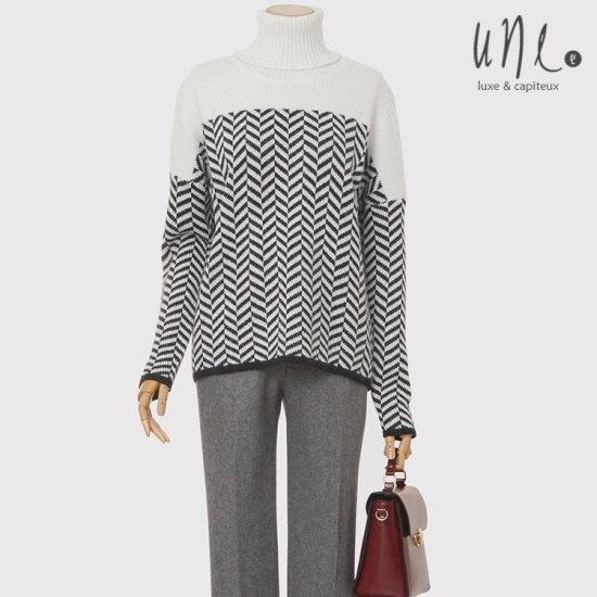 ウィンソウル混紡配色パターンスタイリッシュハイネックのニット ニット/セーター/ニット/韓国ファッション