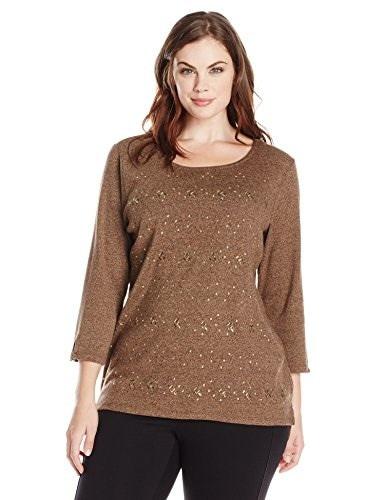 Rafaella Womens Plus-Size 3/4 Embroideryellished Knit, Brown Tweed Heather, 2X