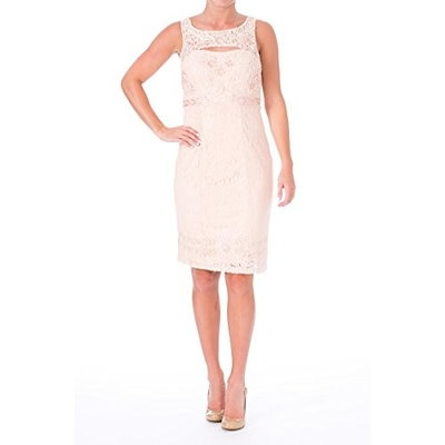 Sue Wong Womens Lace Cut-Out Cocktail Dress Pink 6