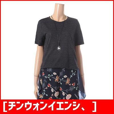 [チンウォンイエンシ、]下のだんの配色ラウンドティーシャツENLW82530W /ルーズフィット/エイ/ボックスTシャツ/ 韓国ファッション