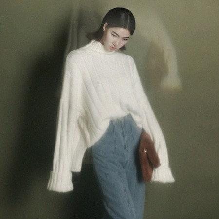 [ディントゥ] E-4090レノンの段ボールタートルニットトップkorea fashion style