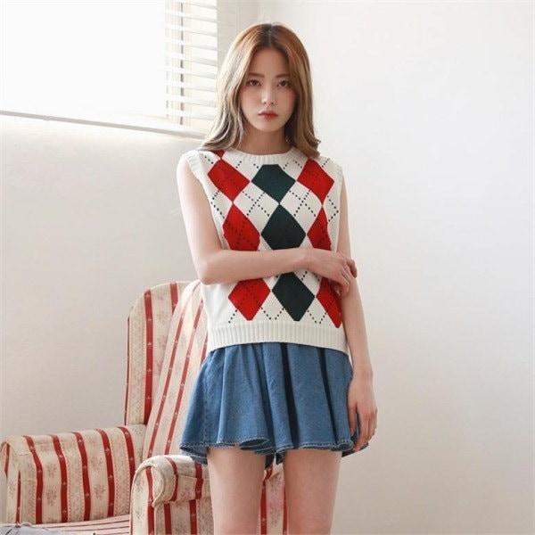 デイリー・マンデーArgyle knit vestベストnew 女性ニット/ニットベスト/韓国ファッション