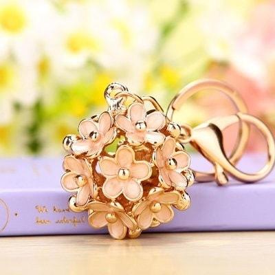 キーホルダー たくさんの小花 フラワー ゴールド (アプリコット)