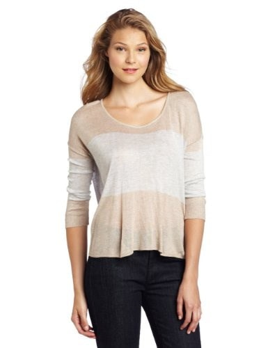 Kensie Womens Drapey Striped Sweater, Heather Oyster Mix, Large