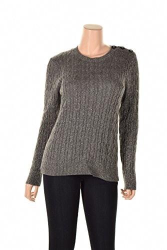 Charter Club Womens Cableknit Crew Neck Lurex Sweater (Petite X-Large, Charcoal lurex)