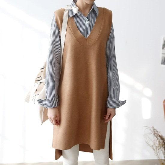 オーサムメルローズロング・ニットVベスト233955srcLangTypeko ニット/セーター/ニット/韓国ファッション