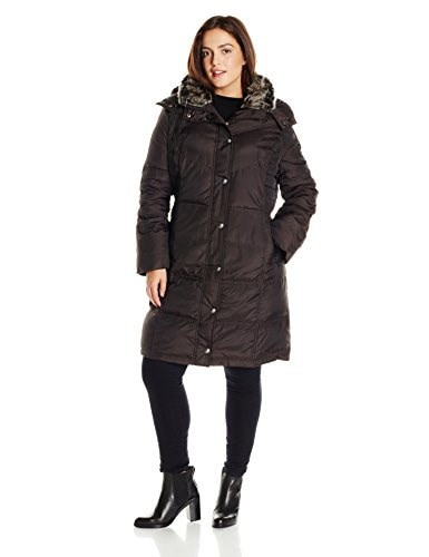 London Fog Womens Plus-Size Mid Length Down Coat, Brown, 2X