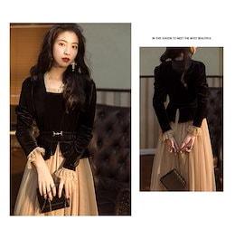 秋服 高品質ワンピースドレス 夏 韓国ファッションOL正式な場合 パーティードレスセクシーなワンピース  二点セット