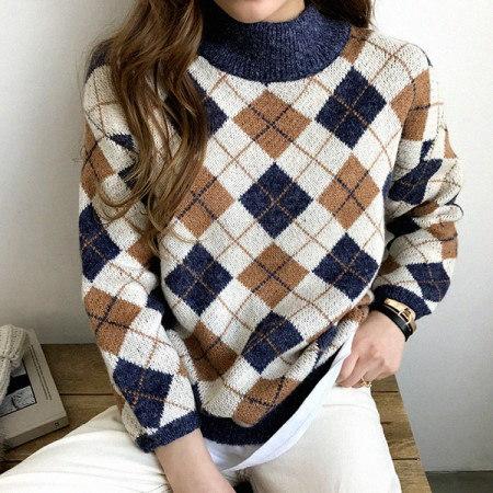 ボンネットアーガイルニットKorean fashion style