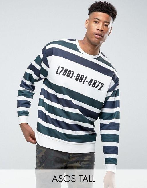 ASOS TALL Oversized Sweatshirt with Stripe & Print