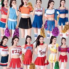 全12タイプコスプレ チア チアガール レースクイーンセットアップダンス衣装 ポンポン ダンス服装 体操服 JAZZ DANCE tシャツスカート2点セット スウェット キッズチアリーダー