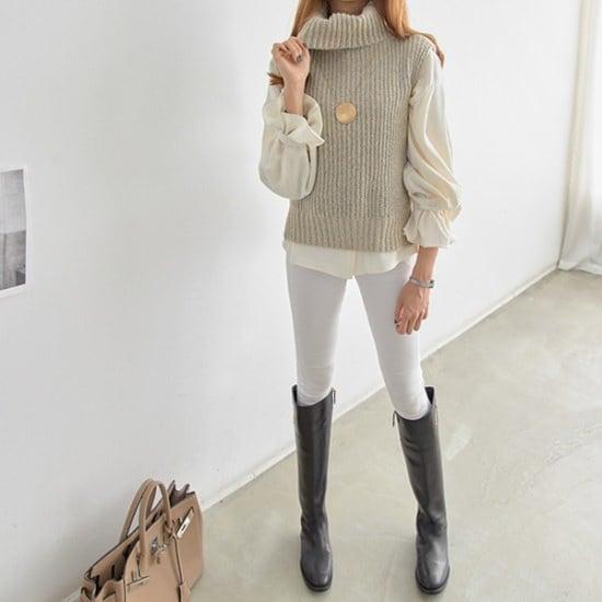 ペッパー開けたことポイントのポーラー・ベスト104470 ベセチュウ / ニット・ベスト/ 韓国ファッション