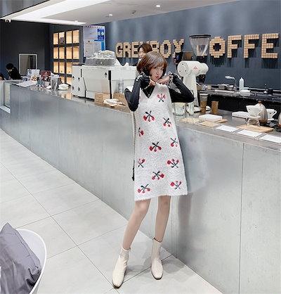 O1TU【送料無料】 ★この季節に大活躍✨大人の魅力★韓国ファッション  新品  セーター  ゆったり  怠惰な風  チェリー  ニット   Vネック  中・長セクション  ワンピース