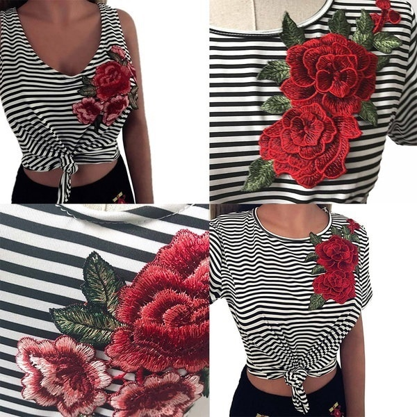 Women Short Sleeve Crew Neck Striped Embroidered Rose T-shirt Tee Blouse Tops Vest