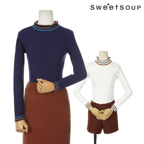 森SOUPネックポイントニートWTBLKH1 ニット/セーター/パターンニット/韓国ファッション
