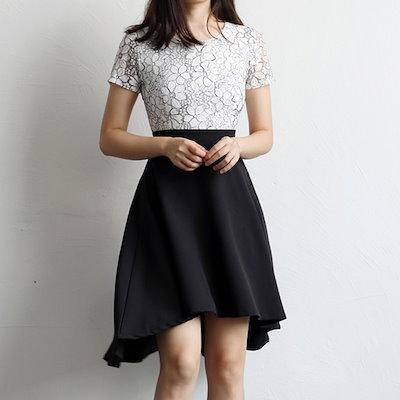 半袖 ショートドレス フィッシュテール レース Aラインスカート