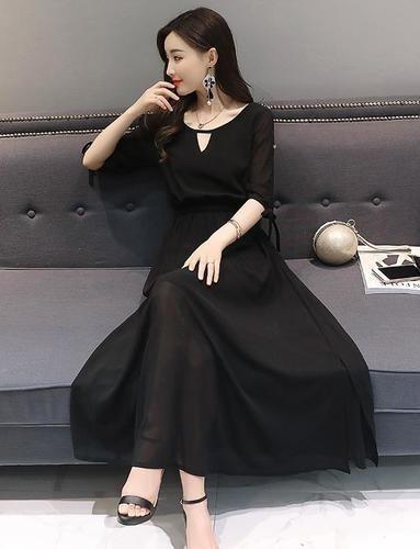 b33de7095b1b35 シフォンマキシワンピース(ブラック)シフォンワンピース ドレス マキシ丈ワンピース 結婚式